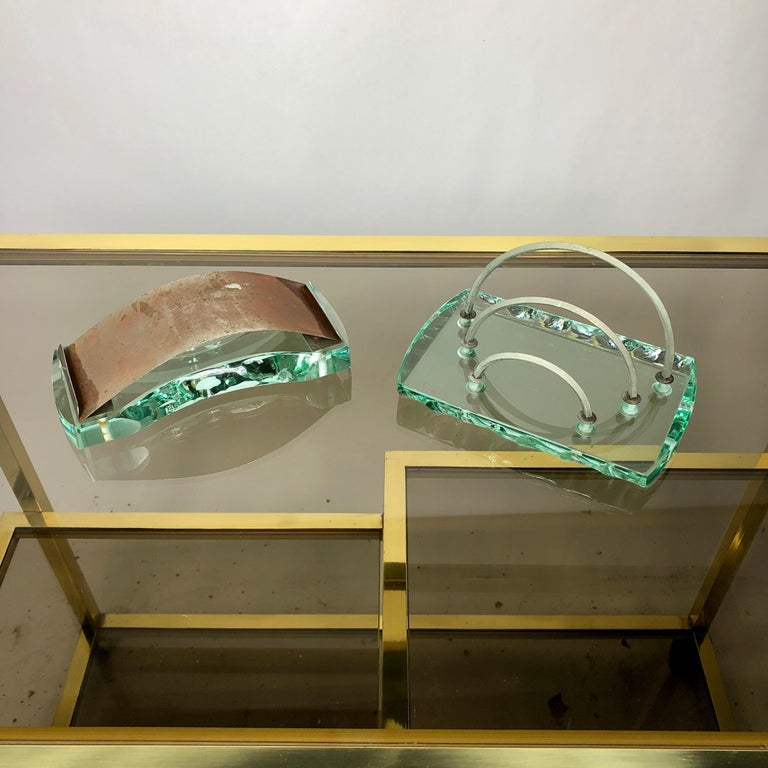 Fontana Arte Desk Accessories Glass Set Letter Holder and Blotter 1950s Italy For Sale 1