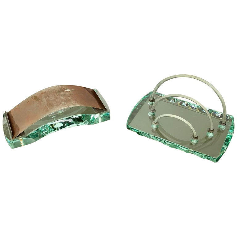 Fontana Arte Desk Accessories Glass Set Letter Holder and Blotter 1950s Italy For Sale