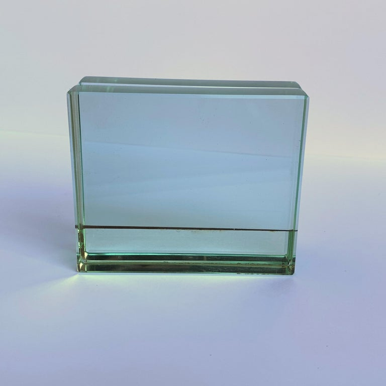 Fontana Arte Double-Sided Glass Frame with Mirror, Italy, 1980s Photo Frame For Sale 9