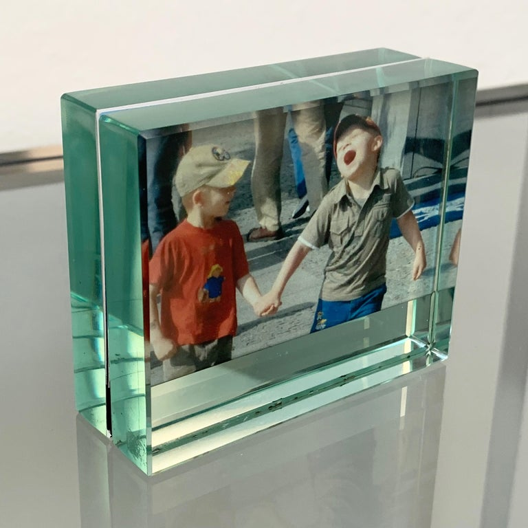 Italian Fontana Arte Double-Sided Glass Frame with Mirror, Italy, 1980s Photo Frame For Sale