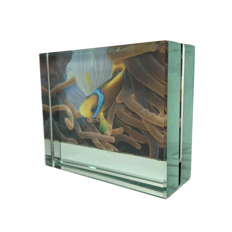Fontana Arte Double-Sided Glass Frame with Mirror, Italy, 1980s Photo Frame For Sale 1