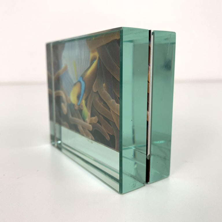 Fontana Arte Double-Sided Glass Frame with Mirror, Italy, 1980s Photo Frame For Sale 2