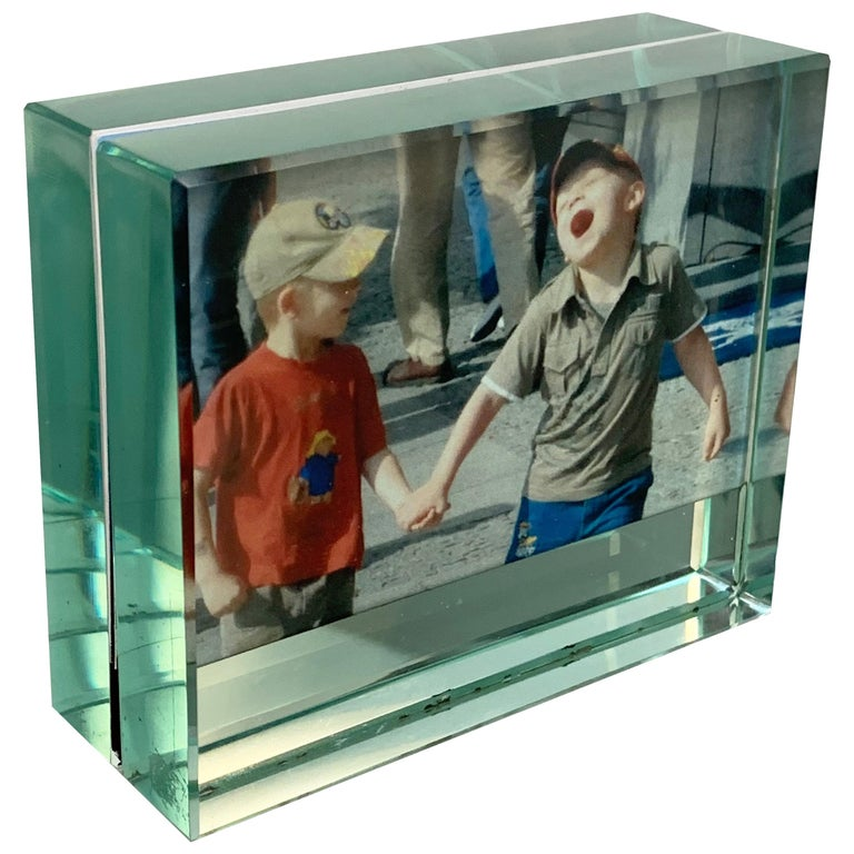 Fontana Arte Double-Sided Glass Frame with Mirror, Italy, 1980s Photo Frame For Sale