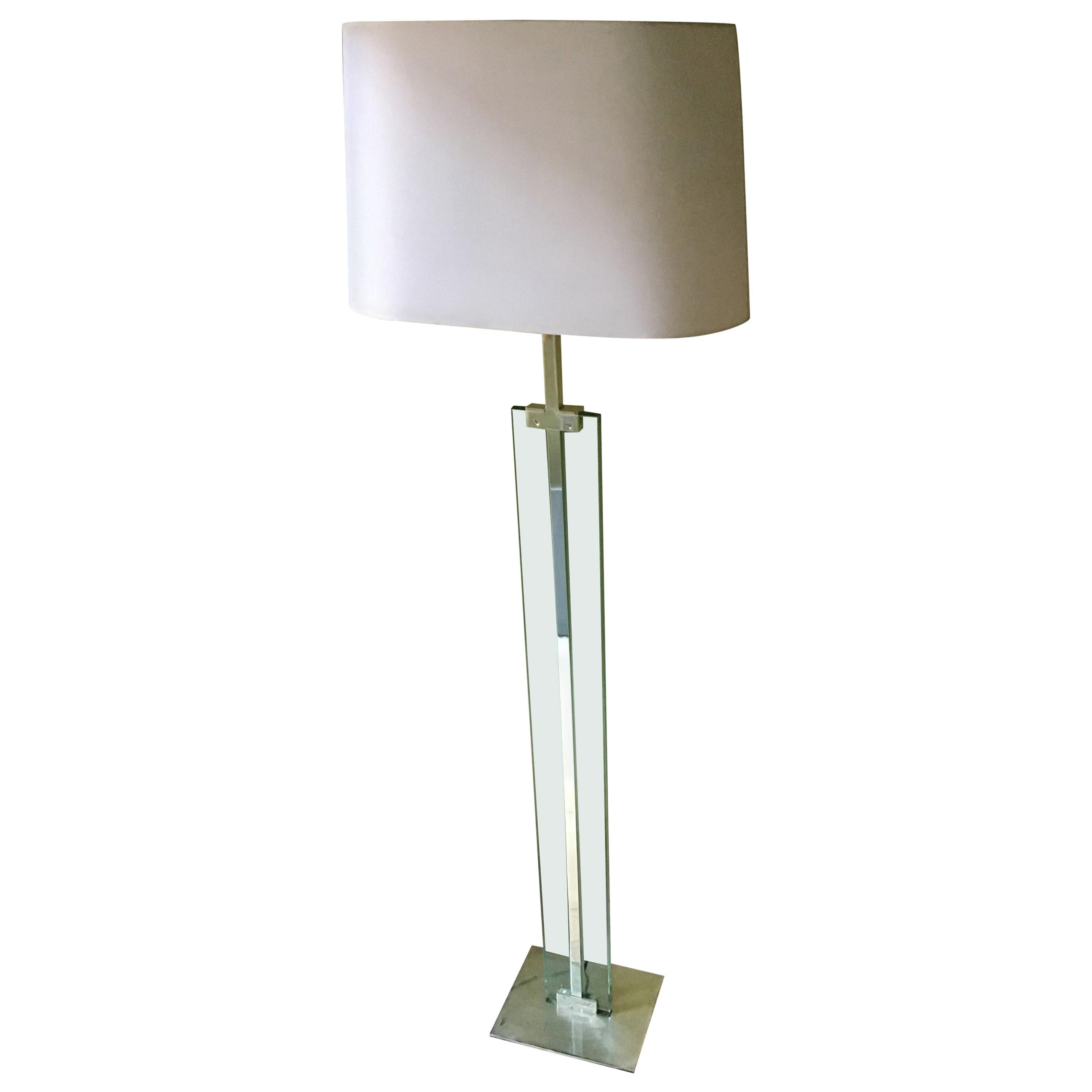 Fontana Arte Floor Lamp 1960 Crome Brass Glass Fabric Lampshade, Italy