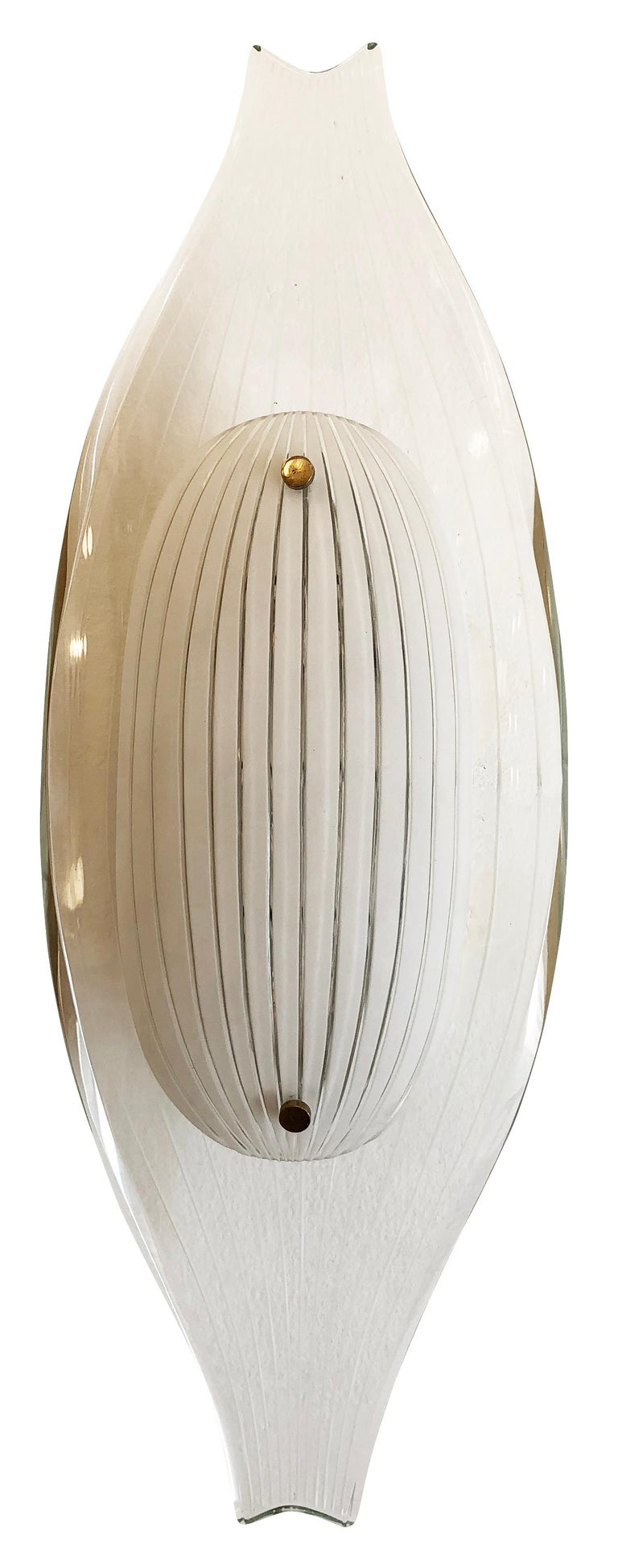 Mid-Century Modern Fontana Arte Flush Mount Model 2340 by Max Ingrand For Sale