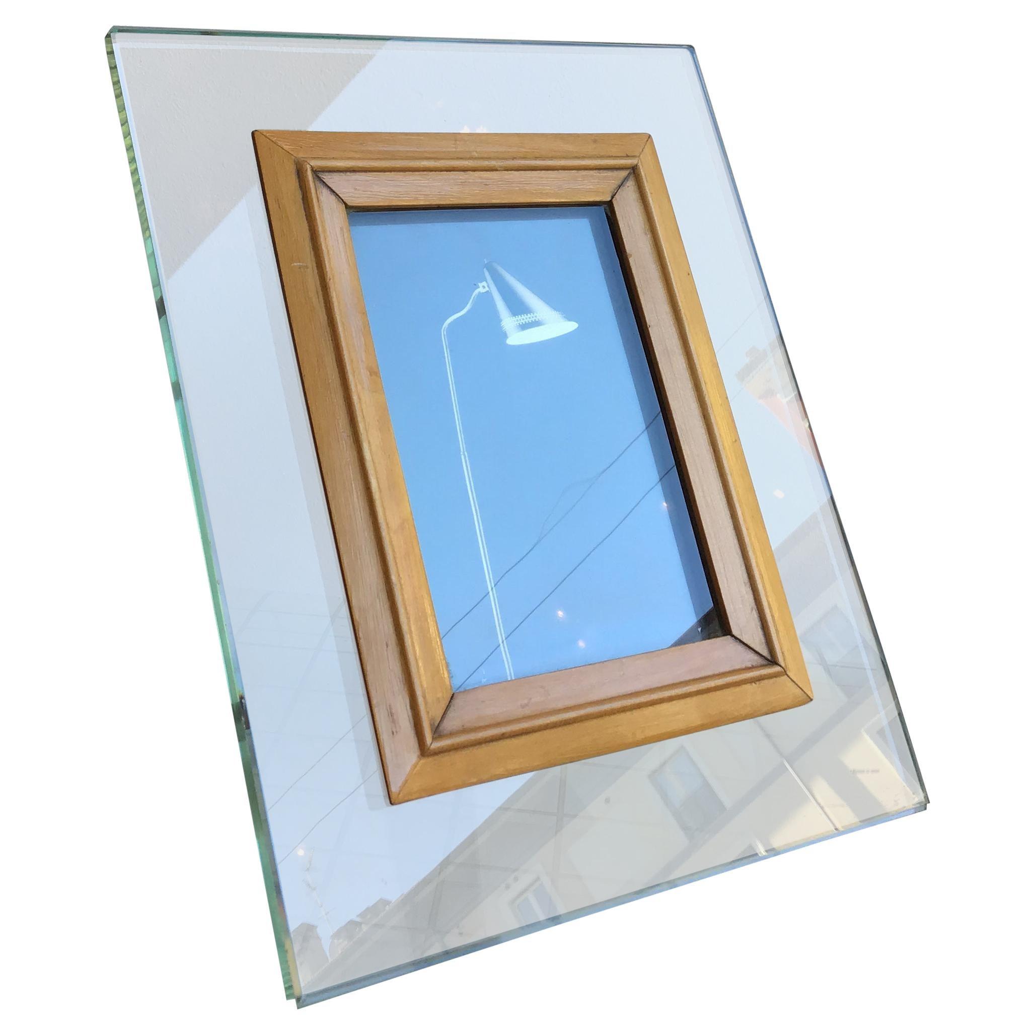 Fontana Arte Frame Glass Wood, 1950, Italy