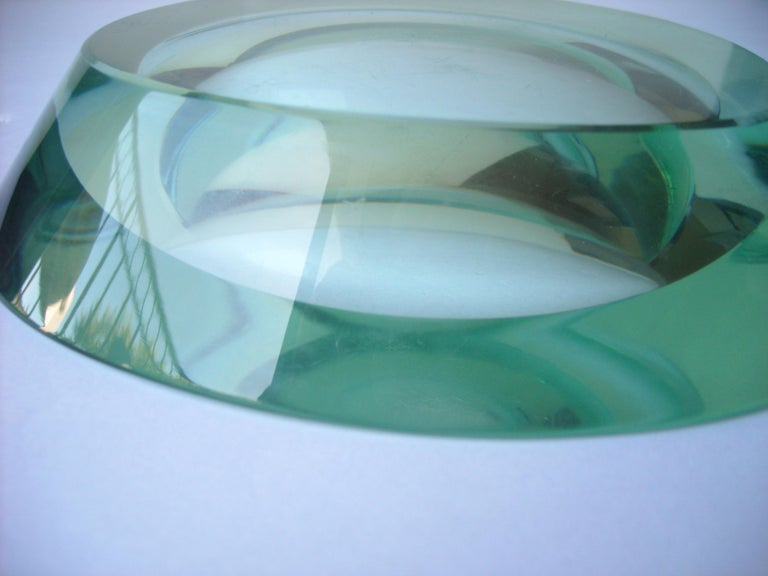 Hand-Crafted Fontana Arte Glass/ Crystal, Dish, Vide-Poche, Free Form Shape Signed FX For Sale