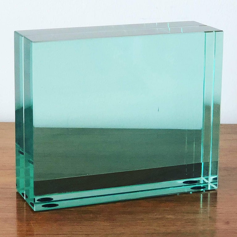 Minimalist Fontana Arte Glass Picture Frame For Sale