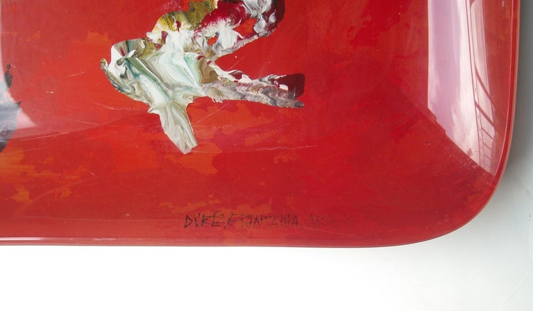 Very nice abstract glass painted tray, by the well-known artist, Duilio Barnabe. Signed