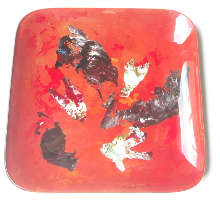 Italian Fontana Arte Glass Tray by Dube, Duilio Barnabe, Abstract Painting, Signed For Sale