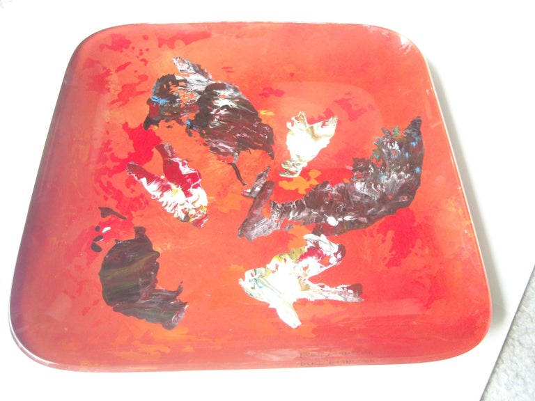 Hand-Crafted Fontana Arte Glass Tray by Dube, Duilio Barnabe, Abstract Painting, Signed For Sale