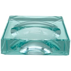 Fontana Arte Green Crystal Glass Squared Ashtray, Italy, 1960s