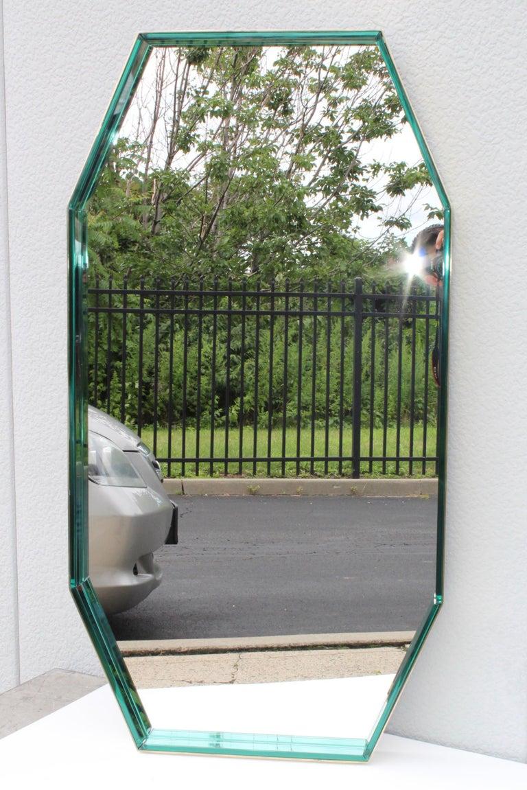 Mid-Century Modern Fontana Arte Green Glass and Brass Octagonal Mirror