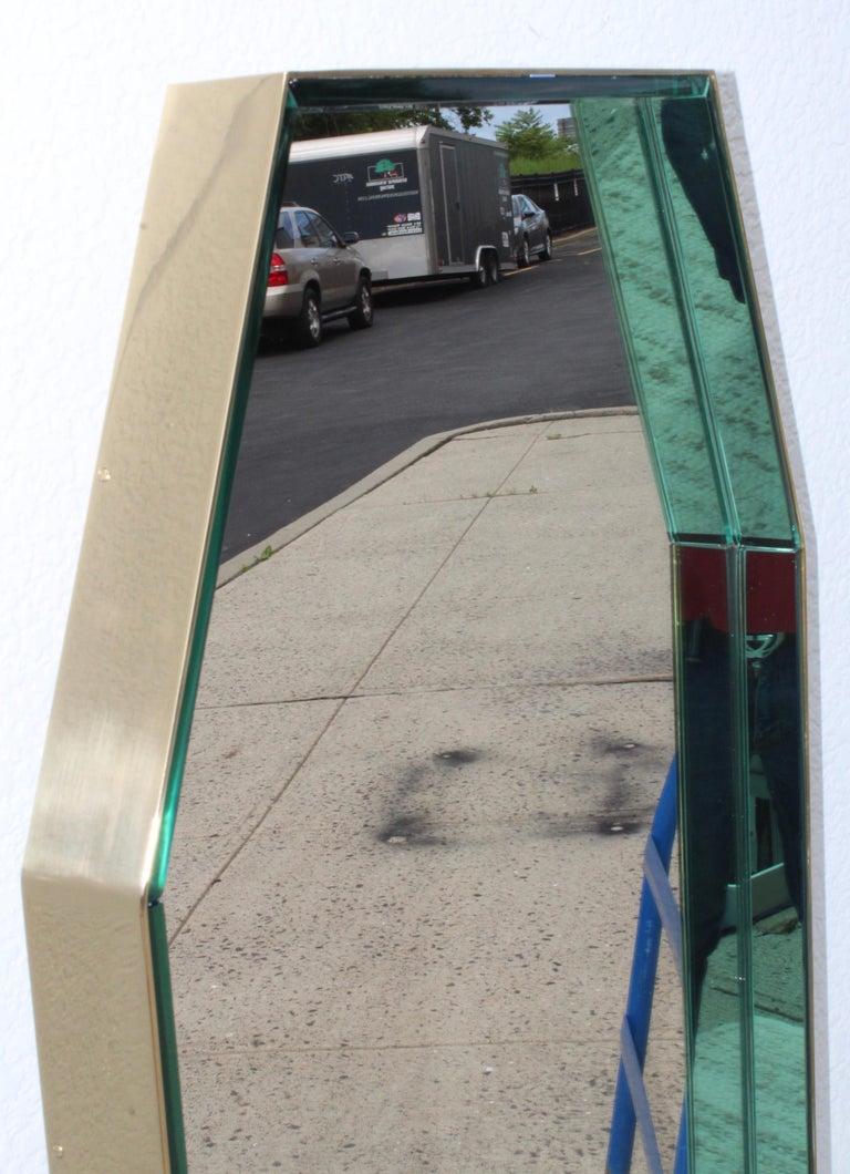 Italian Fontana Arte Green Glass and Brass Octagonal Mirror
