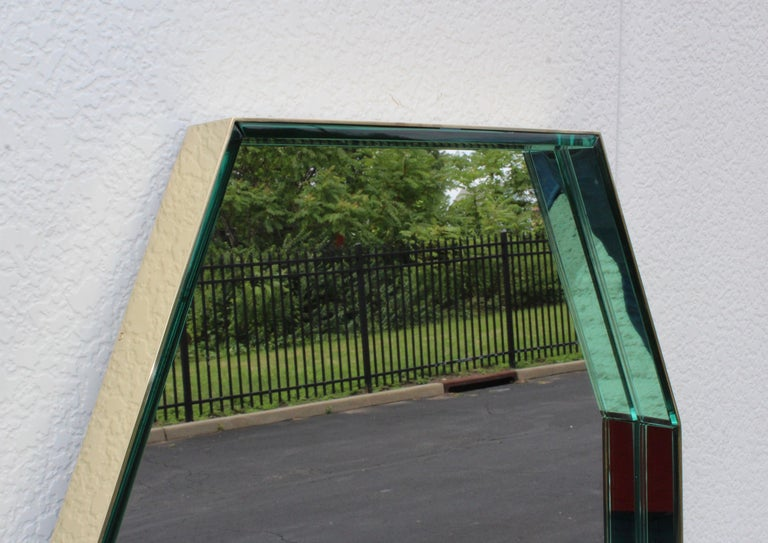 Fontana Arte Green Glass and Brass Octagonal Mirror In Good Condition In New York City, NY