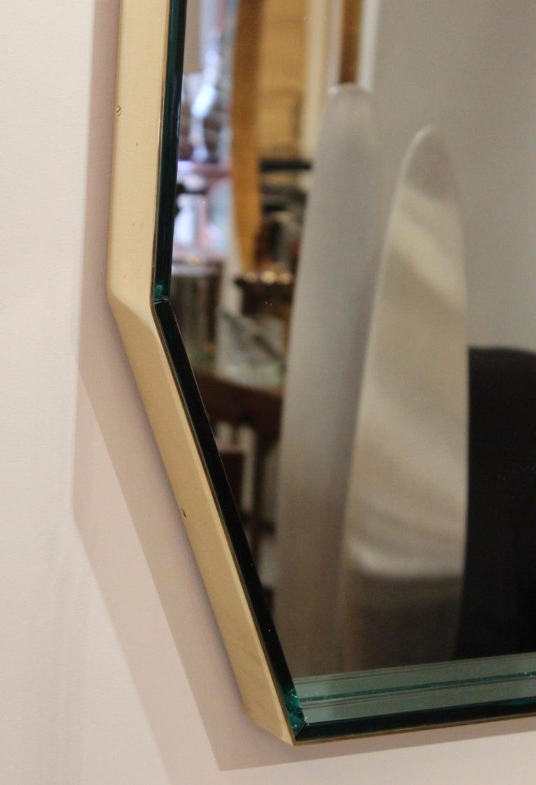 20th Century Fontana Arte Green Glass and Brass Octagonal Mirror