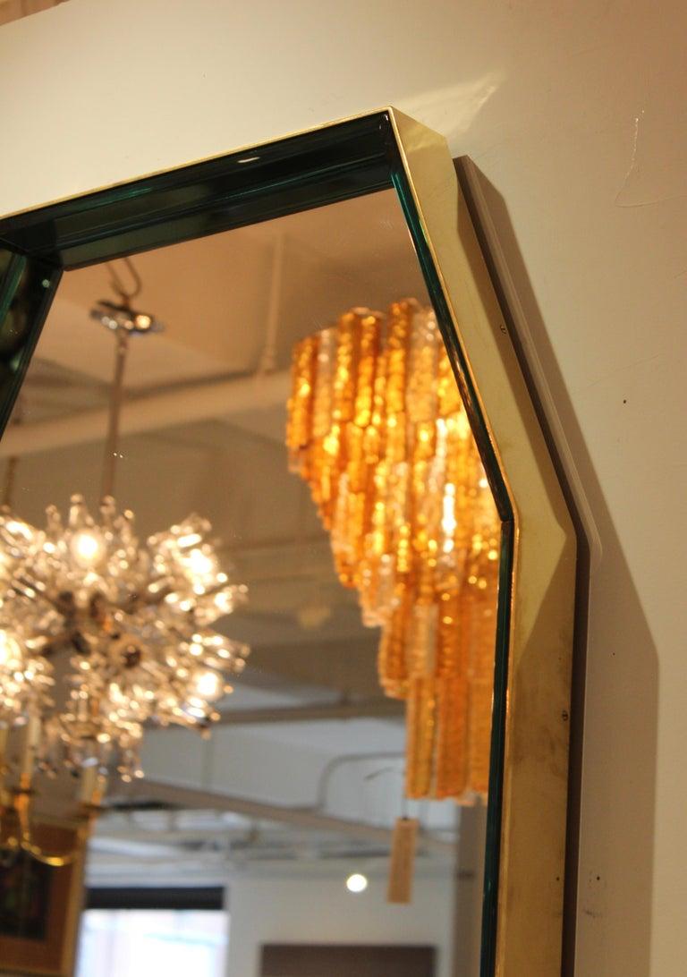 Fontana Arte Green Glass and Brass Octagonal Mirror 1