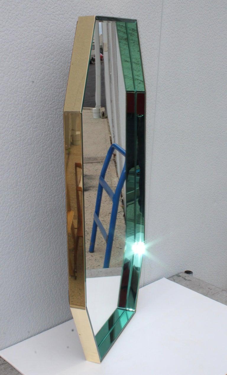 Fontana Arte Green Glass and Brass Octagonal Mirror 2