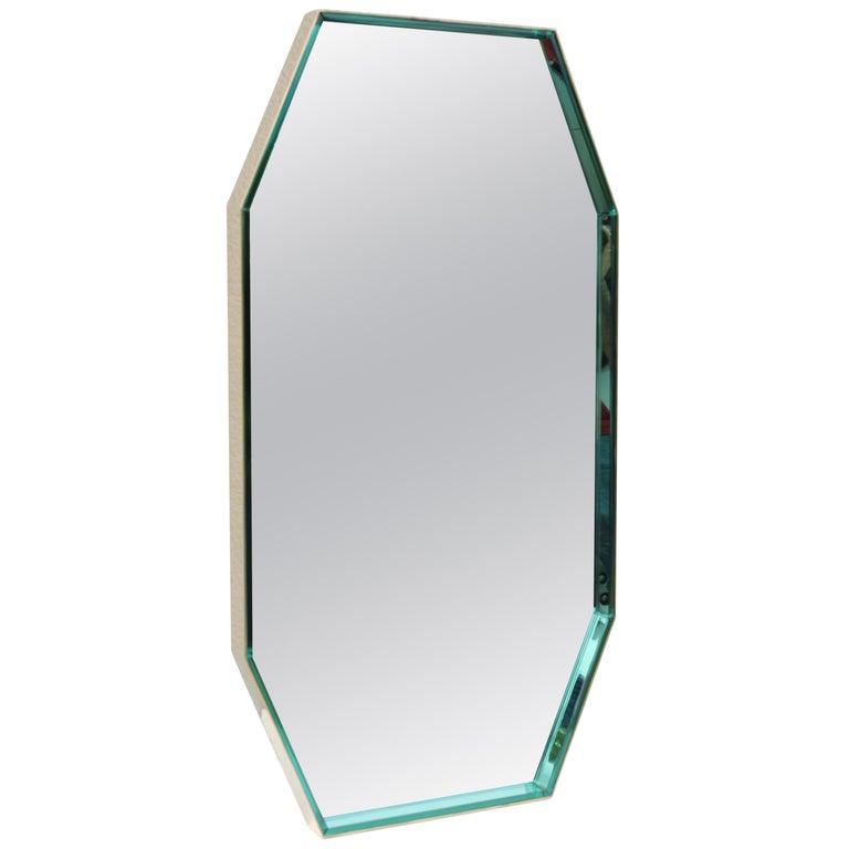 Fontana Arte Green Glass and Brass Octagonal Mirror