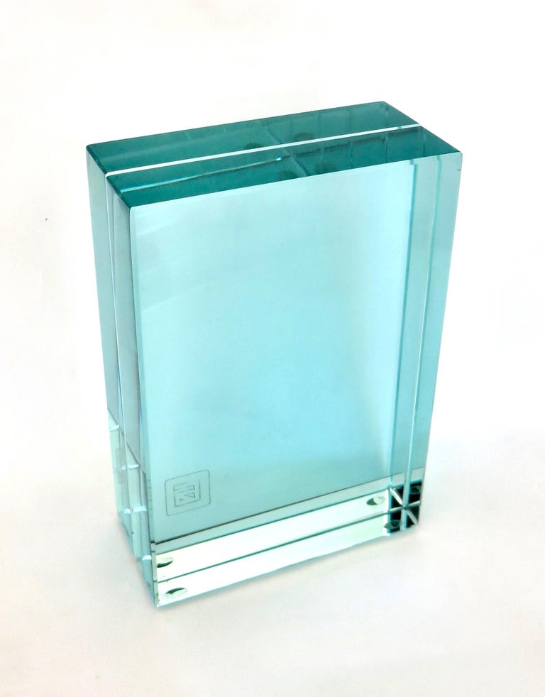 Mid-Century Modern Fontana Arte Italian All Double Glass Picture Frame with Label For Sale