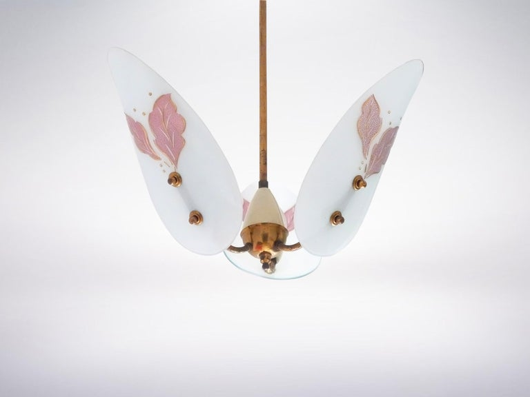 Fontana Arte, Italian Midcentury, Glass Chandelier after Pietro Chiesa, 1940s In Good Condition For Sale In Milan, IT