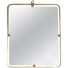 Fontana Arte Italian Midcentury Mirror in Brass