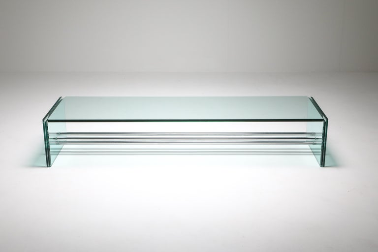 Postmodern, Fontana Arte, Italy, the 1970s.  Rare glass coffee table with chrome tubular design.