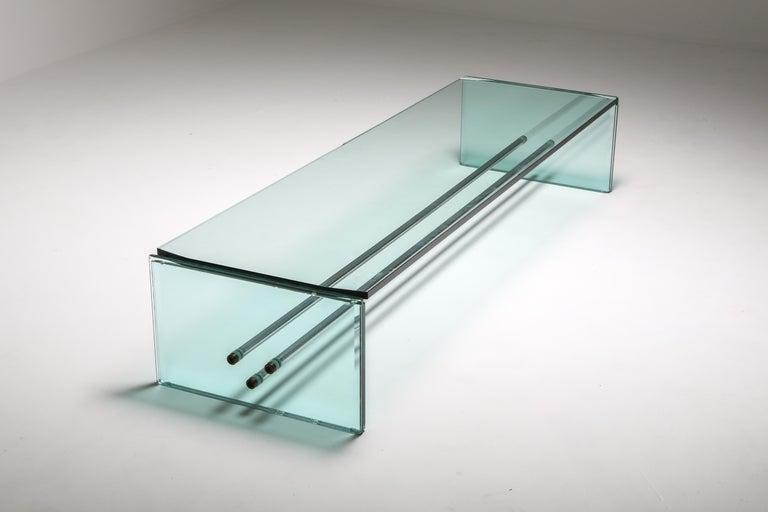 Post-Modern Fontana Arte Large Glass Coffee Table For Sale