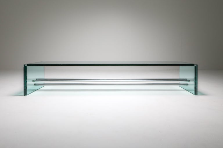 Italian Fontana Arte Large Glass Coffee Table For Sale