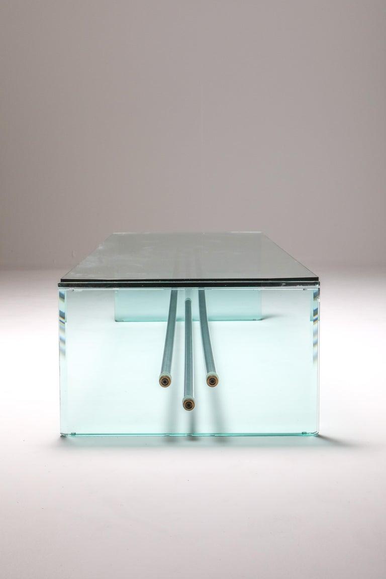 Late 20th Century Fontana Arte Large Glass Coffee Table For Sale