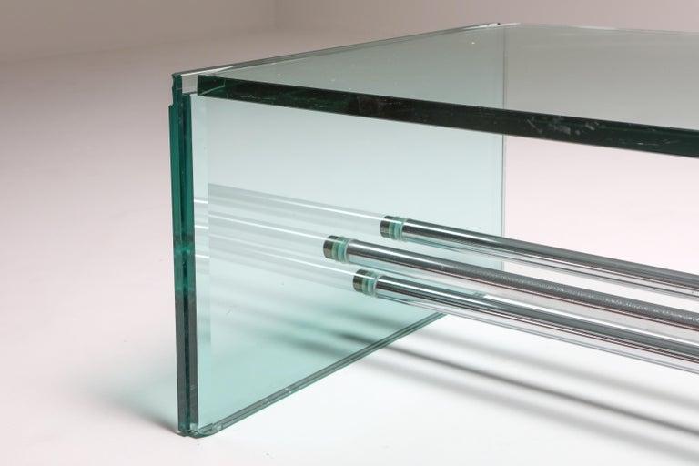 Fontana Arte Large Glass Coffee Table For Sale 1