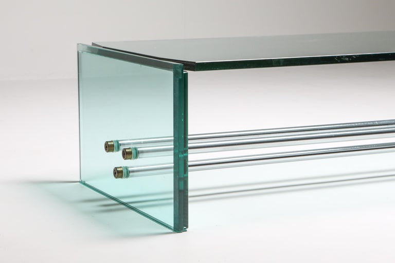 Fontana Arte Large Glass Coffee Table For Sale 2