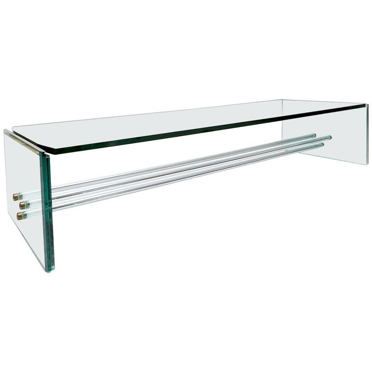 Fontana Arte Large Glass Coffee Table For Sale
