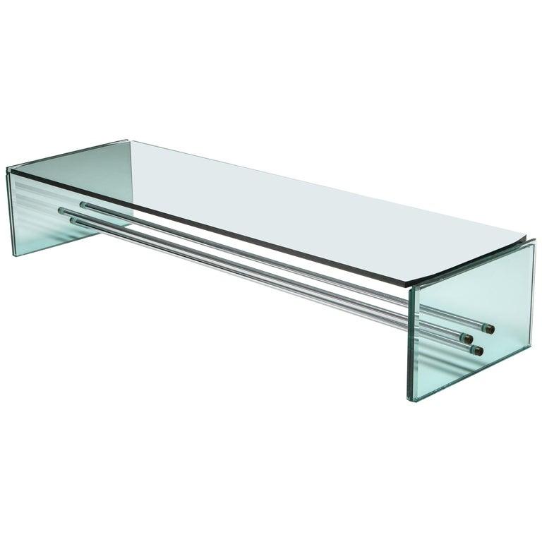 Fontana Arte Large Glass Coffee Table For Sale