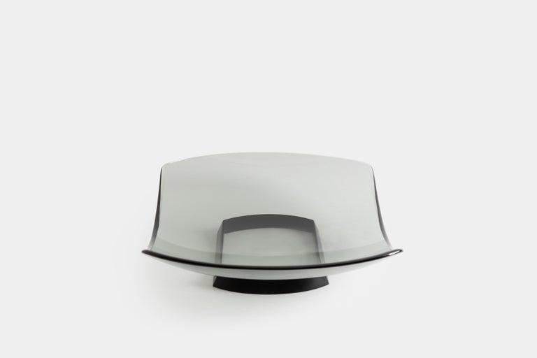 Mid-Century Modern Fontana Arte Large Gray Glass Dish or Centerpiece Model 1419 For Sale