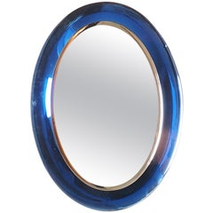 Fontana Arte Large Midcentury Blue Oval Mirror, Fontana Arte Milano, 1950s