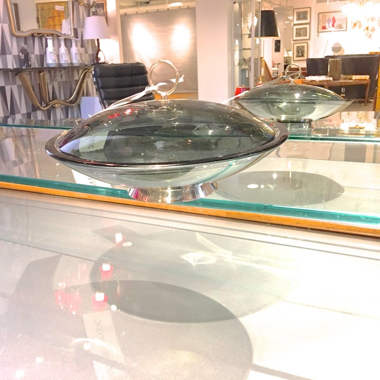 Fontana Arte Lidded Bowl by Max Ingrand For Sale 1