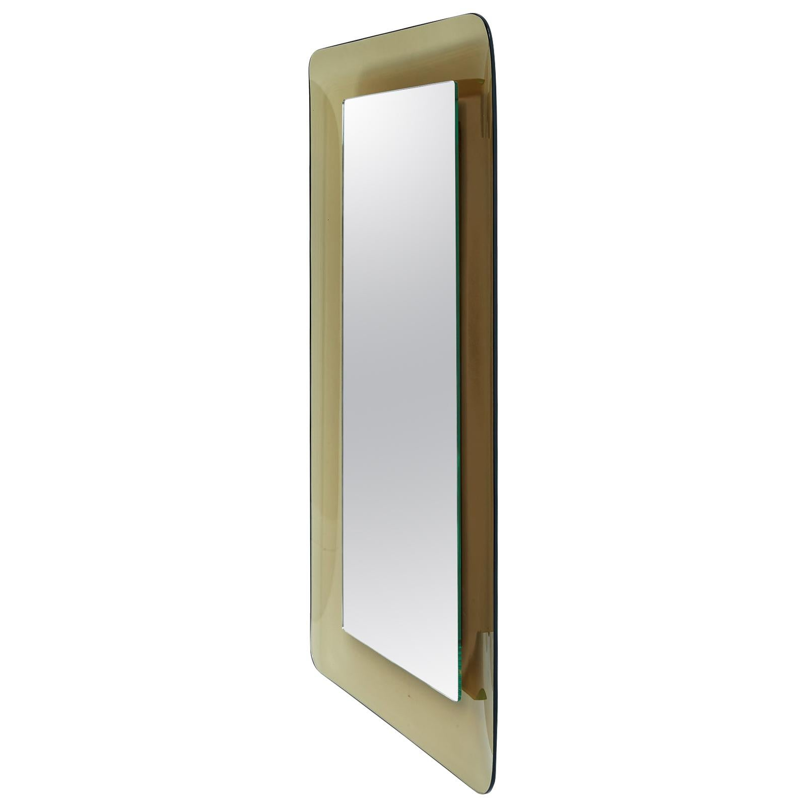 Fontana Arte, Max Ingrand Slender Smoked Glass Mirror