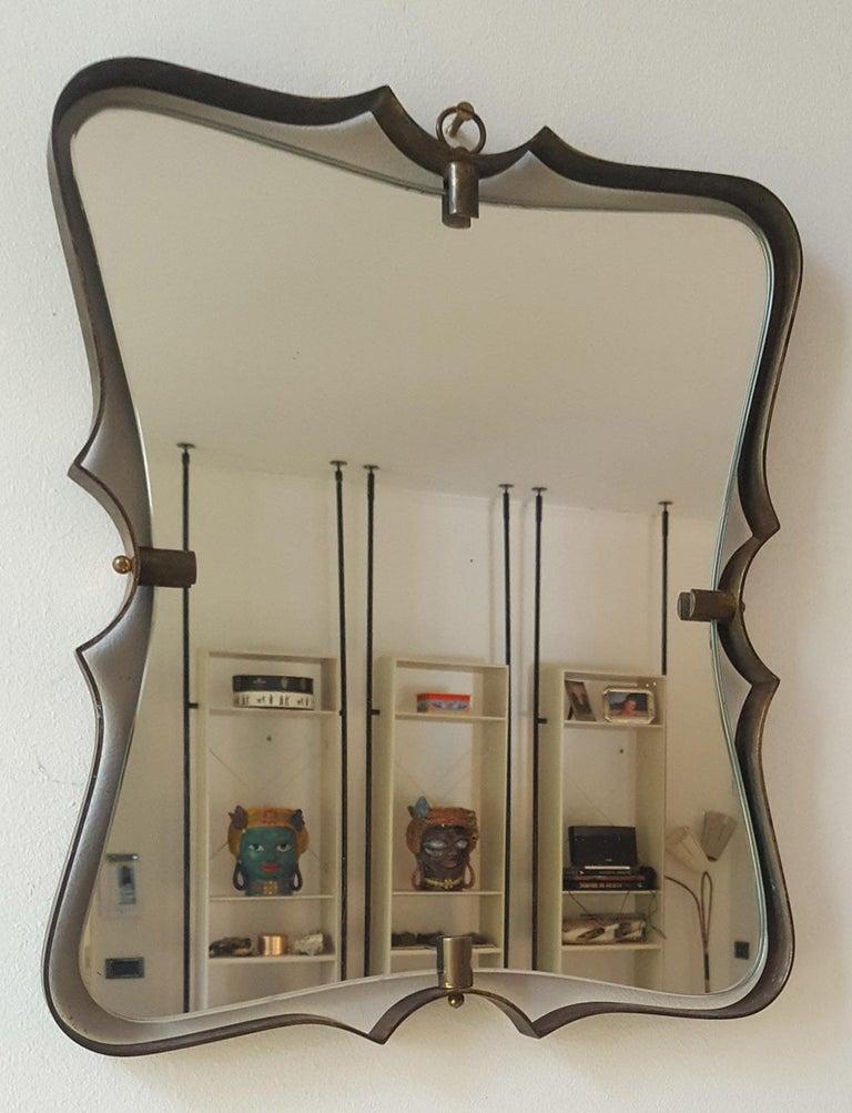 Mid-Century Modern Fontana Arte Mid Century Brass Wall Mirror, Milano, 1950s For Sale