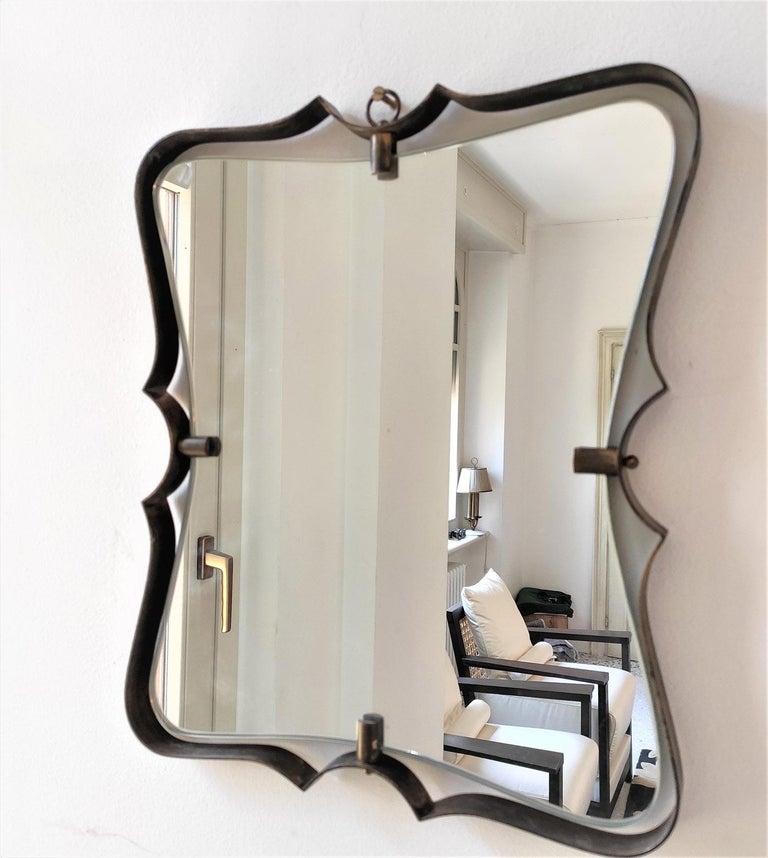 Mid-20th Century Fontana Arte Mid Century Brass Wall Mirror, Milano, 1950s For Sale