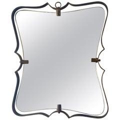 Fontana Arte Mid Century Brass Wall Mirror, Milano, 1950s