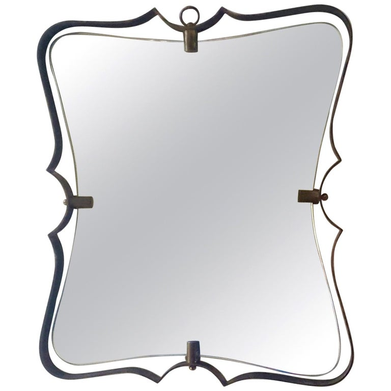 Fontana Arte Mid Century Brass Wall Mirror, Milano, 1950s For Sale