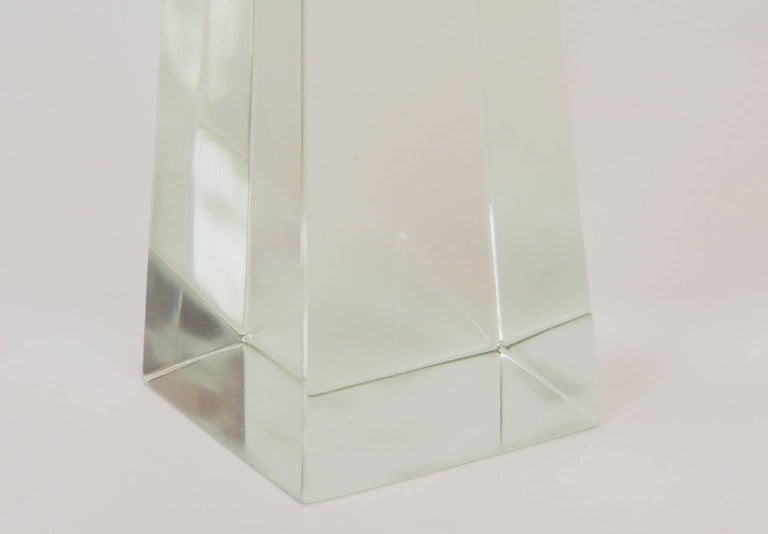 Bright and very large and massive Fontana Arte obelisk made by the famous Italian Label in Milano during the 1970s. It's clear and maximum transparency together with its exceptional eight of 62 cm, make of this special object a Unicom.