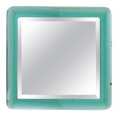 Fontana Arte Mid-Century Modern Italian Concave Wall Green Mirror, 1965