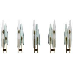 Fontana Arte Mid-Century Modern Italian Dahlia Sconces by Max Ingrand, Set of 5