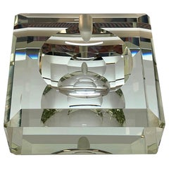 Fontana Arte Midcentury Crystal Glass Italian Squared Ashtray with Mirror, 1960s