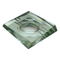 Fontana Arte Midcentury Green Crystal Glass Squared Italian Ashtray, 1960s