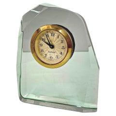 Fontana Arte Midcentury Italian Crystal Glass Table Clock for Mercedes, 1950s