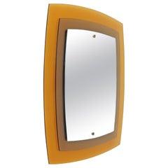Fontana Arte Mod. 2180 Yellow / Orange Wall Mirror, Italy, 1960s