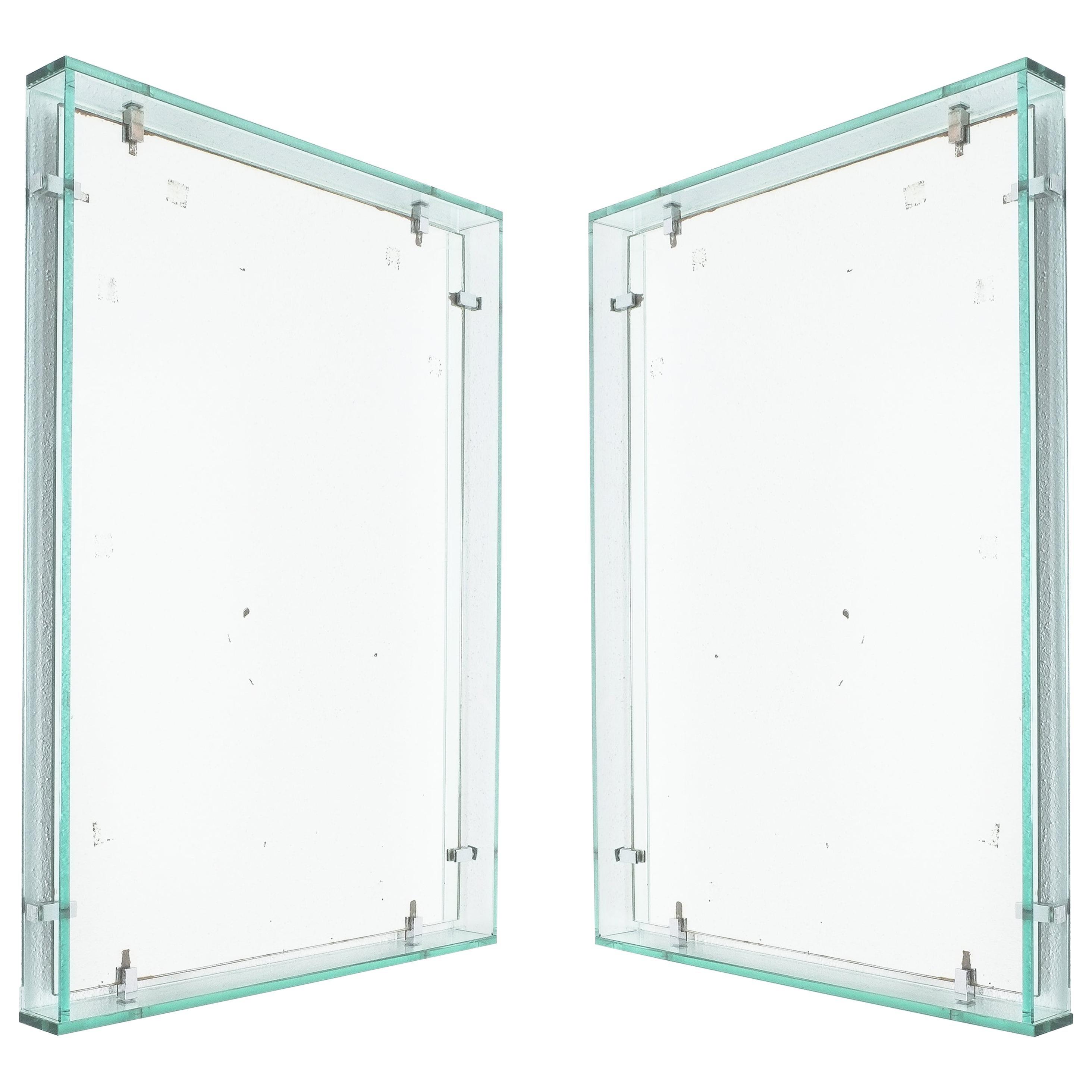 Fontana Arte Model 2014 Rectangular Floating Glass Mirrors, One of Two, 1960